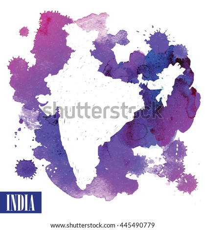 India. The contour of the country. Vector image of the hand on the background of watercolor stains .