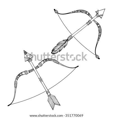 indian bow arrows hand drawn ethnic stock vector 351979325