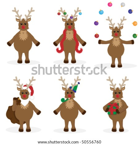 6 individually grouped images of Rudolf, each on separate layers.