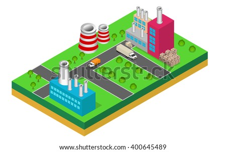 industrial buildings factories and boilers in perspective, isometric factories
