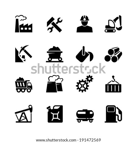 Industrial web icon set black - stock vector