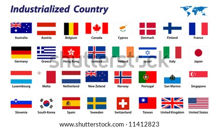 32 Industrialized country flags - stock vector
