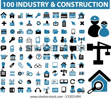 100 industry & construction signs. vector - stock vector