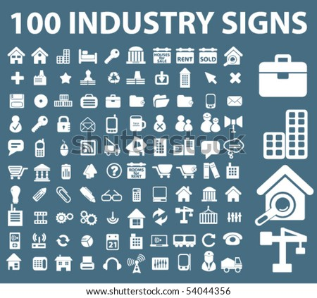 100 industry signs. vector - stock vector