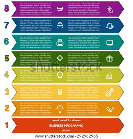 Infographic colour strips of arrows for success business project and other Your variant template with text areas on eight positions - stock vector