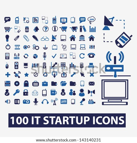 100 information technology, startup icons set, vector