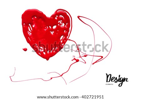 Ink blot look like heart. Vector illustration  - stock vector