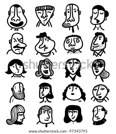 20 ink faces - stock vector