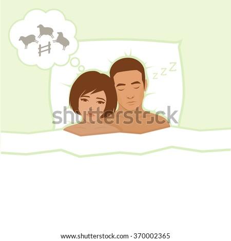 insomnia, sleeping anxiety, vector  illustration - stock vector