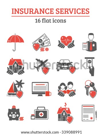 Insurance services red black icons set with health life and property insurance symbols flat isolated vector illustration  - stock vector