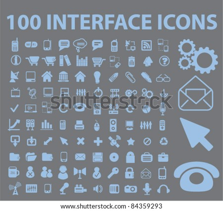 100 interface icons, signs, vector illustrations set - stock vector