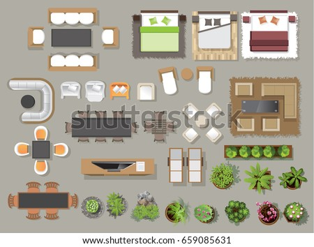 Interior Icons Top View Tree Furniture Stock Vector