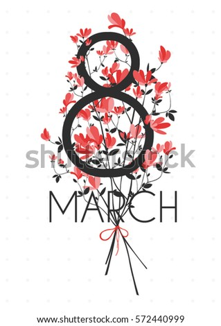 International Women's Day and 8 march. greeting card with bouquet of small red flowers isolated on the white vintage background.