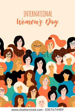 International Women's Day. Vector template with for card, poster, flyer and other users
