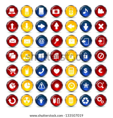 Internet and Communication icons button - stock vector