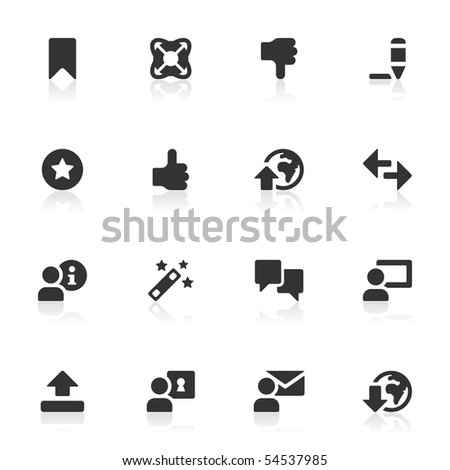 16 internet and toolbar icons, set 2 of 2. - stock vector