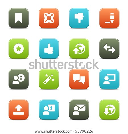 16 internet and toolbar icons, set 2 of 2. The vector file includes four color versions of each icon. - stock vector