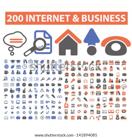 200 internet, business, website, web, design icons, signs, vector, set - stock vector