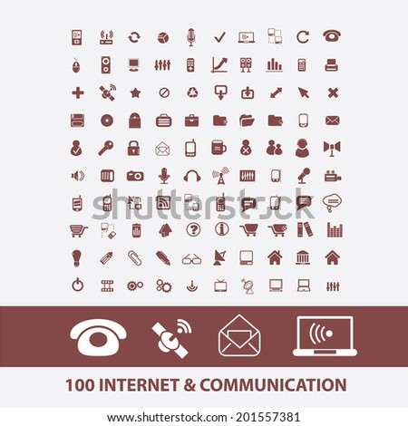 100 internet, communication, cloud, network, computer, server, link icons, signs set, vector - stock vector