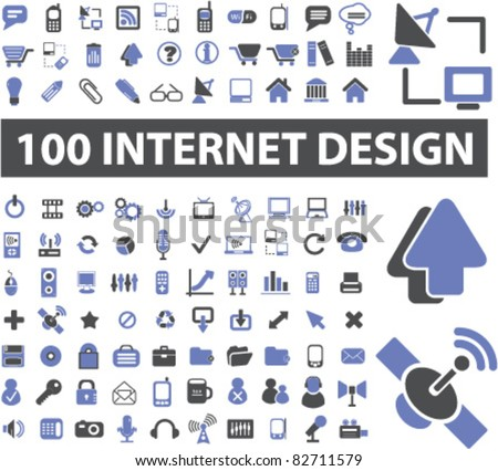100 internet design icons, signs, vector illustrations