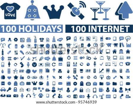 200 internet holidays icons set, vector - stock vector