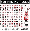 100 internet icons, signs, vector illustrations - stock vector