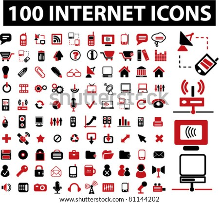 100 internet icons, signs, vector illustrations