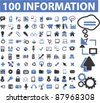 100 internet information icons, signs, vector - stock vector