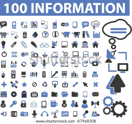 100 internet information icons, signs, vector
