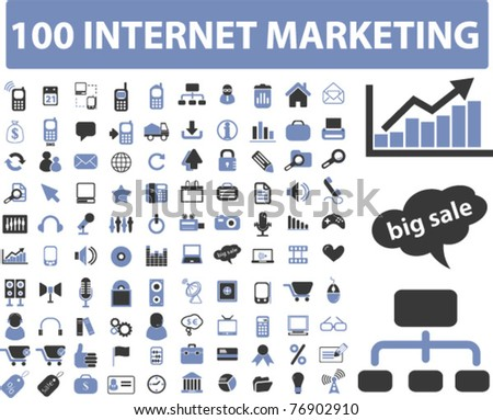 100 internet marketing icons, signs, vector illustrations - stock vector