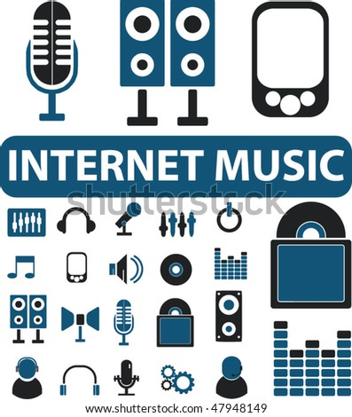 20 internet music signs. vector - stock vector