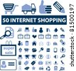50 internet shopping icons, signs, vector illustrations - stock vector