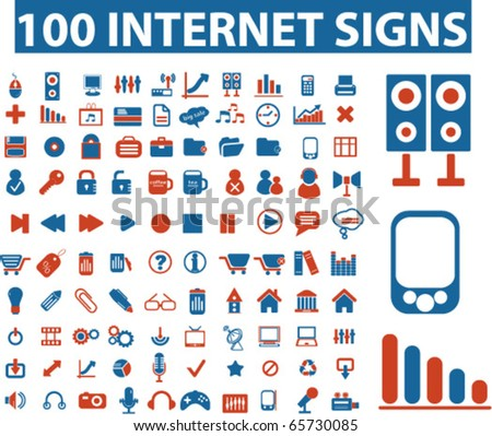 100 internet signs. vector - stock vector