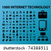 100 internet technology icons, vector - stock vector