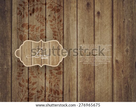 Invitation Card on wooden background with leaves - stock vector