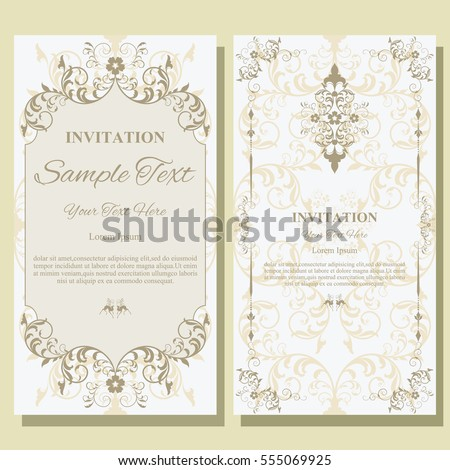 Invitation card with floral pattern on background , flyer illustration concept. Contemporary vintage art, frame,motifs, elements. Vector decorative retro greeting card or invitation design.