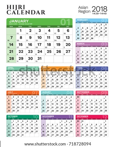 2018 Islamic Hijri Calendar Template Design Stock Photo (Photo
