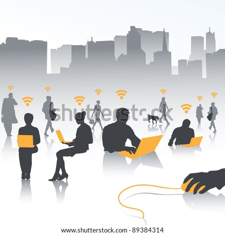 isolate of people in wireless world - stock vector
