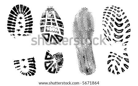 4 Isolated BootPrints - Highly detailed vector of walking shoes - stock vector