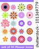 20 isolated decorative colorful vector flower set - stock vector