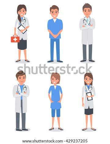 Isolated doctors and other hospital workers. Vector illustration. - stock vector
