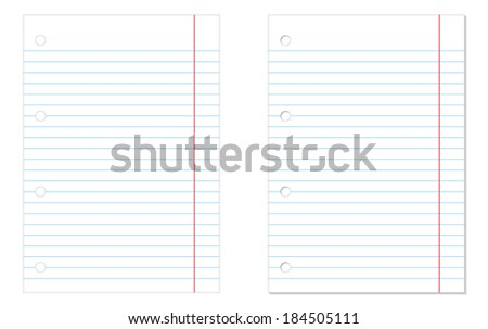2 isolated lined notebook papers - one without and one with shadow