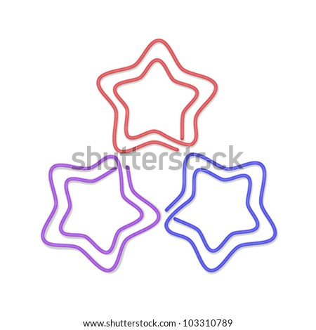 isolated over white background paper clip illustration in the form of star.