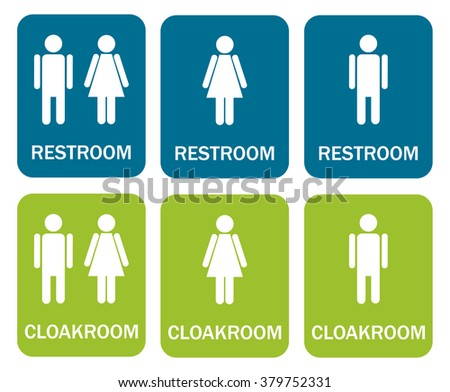 6 isolated signs - 3 for restroom - man, woman, mix and 3 for cloakroom - man, woman, mix - stock vector