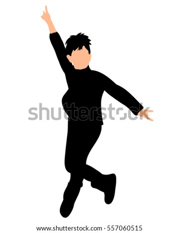 isolated silhouette of a boy jumping