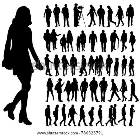 isolated silhouette people, set