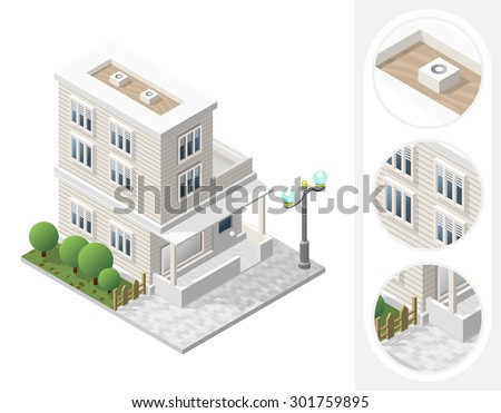 Isometric High Quality City Element with 45 Degrees Shadows on White Background. Residential - stock vector