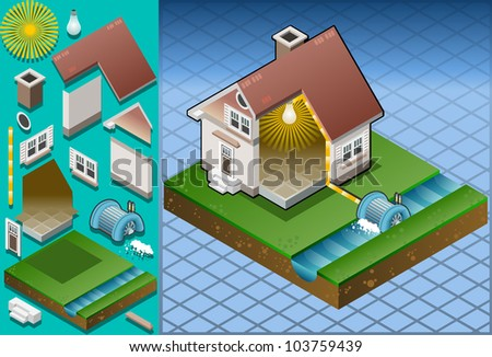 Isometric house powered by watermill - stock vector