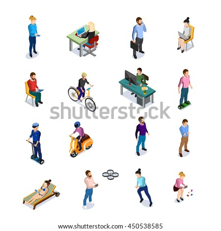 Isometric people icons set with men and women using different kinds of transport and electronic devices on white background  - stock vector