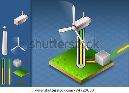 isometric production and transport of energy through wind turbine. - stock vector